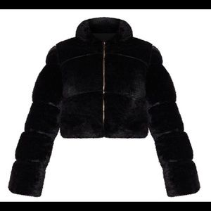 Black Faux Fur Crop Puffer Jacket